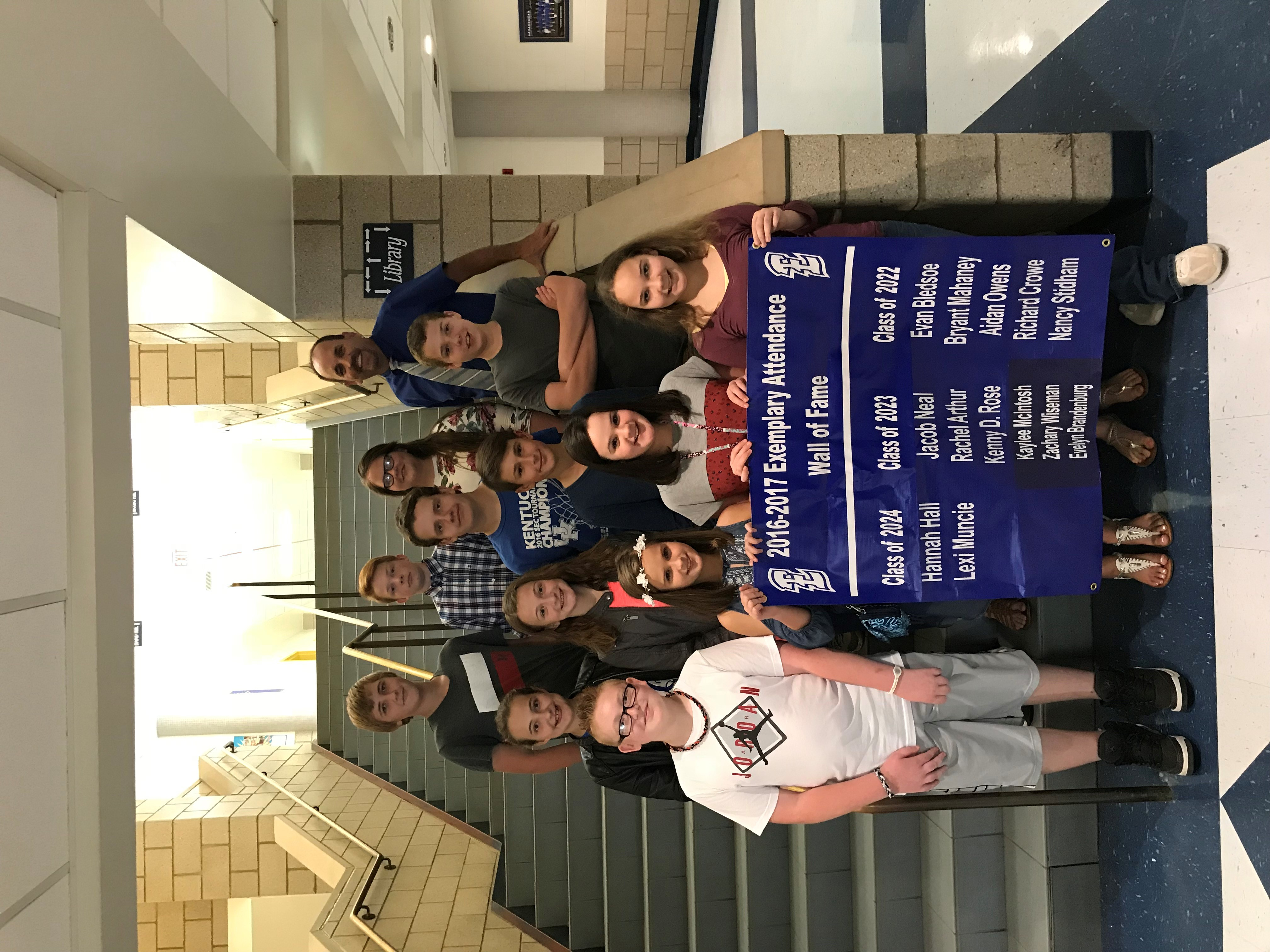 Middle School Attendance Wall of Fame Winners